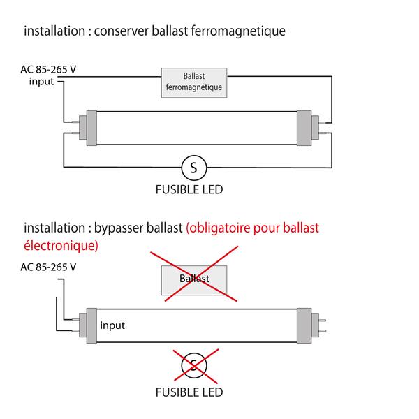 Tube LED 155lm/W alimentation interne,  connexion d′un seul côté